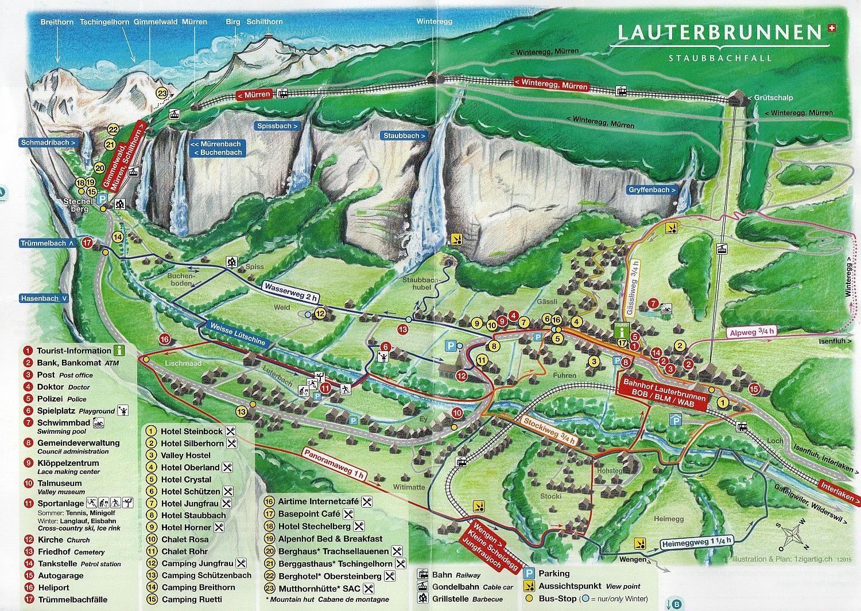 Lauterbrunnen, mapa